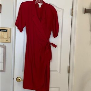 Red Ann Taylor wrap dress size 12. Short sleeve